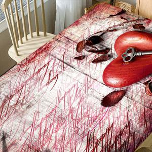 Valentine's Day Graffiti Heart Key Printed Waterproof Table Cloth -
