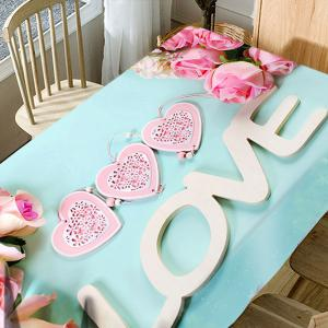 Valentine's Day Roses Hearts Love Pattern Waterproof Table Cloth -