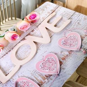 Valentine's Day Roses Love Hearts Print Waterproof Table Cloth -