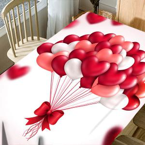 Valentine's Day Heart Balloons Print Waterproof Table Cloth -