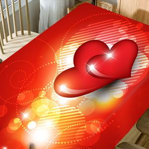 Valentine's Day Hearts Printed Waterproof Table Cloth -