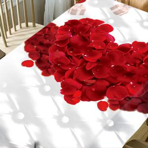 Valentine's Day Petals Double Hearts Print Waterproof Table Cloth -