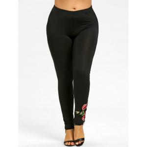 Plus Size Floral Embroidered Detail Pants -