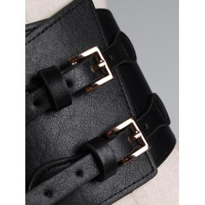Vintage Metal Buckle Two Holes Faux Leather Waist Belt -
