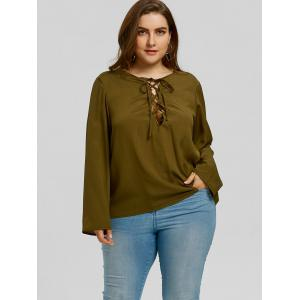 Plus Size Low Cut Lattice Blouse -
