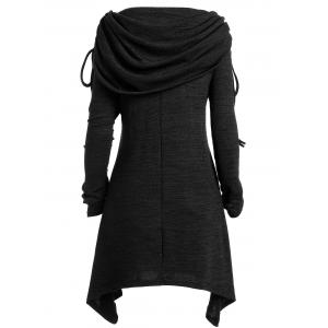 Плюс Размер Foldover Collar Ruched Tunic Вверх -