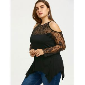 Plus Size See Thru Cold Shoulder Top -