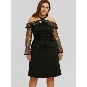 Plus Size Mesh Insert Embroidery Bodycon Dress -