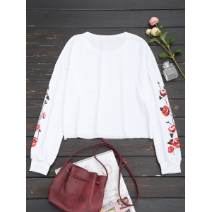 Floral Panel Cropped Sweatshirt -