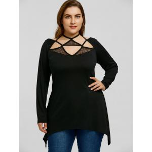 Plus Size Triangle Lattice Cut Caged Halter Blouse -