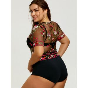 Floral Embroidered Plus Size Mesh Cover Up -