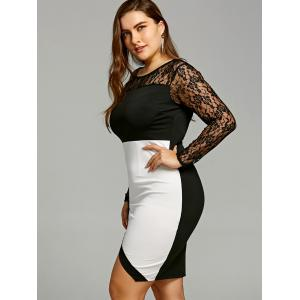 Plus Size Long Sleeve Lace Tight Dress -