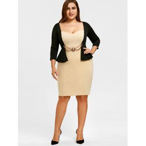 Sweetheart Neckline Plus Size 2 In 1 Pencil Dress -