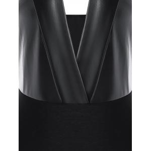 PU Leather Panel Strappy Bodysuit -