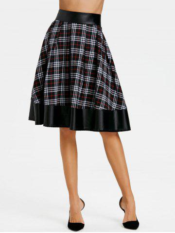 Best PU Leather Panel Plaid Swing Skirt