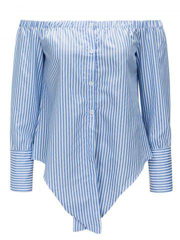 Cheap Striped Off The Shoulder Tie Up Blouse
