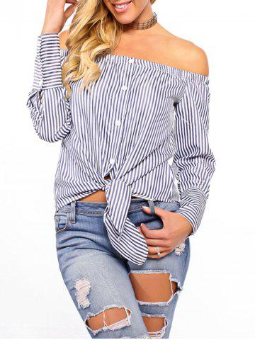 Hot Striped Off The Shoulder Tie Up Blouse