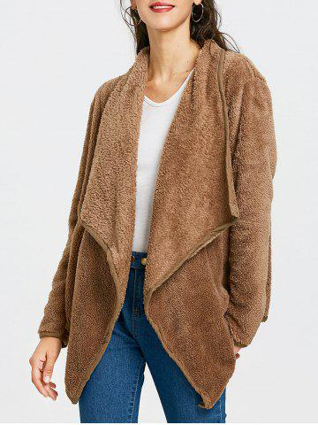 Affordable Furry Drape Front Jacket