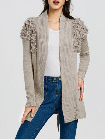 Shops Wrap Collarless Ribbed Cardigan