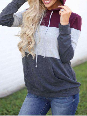 Drawstring Color Lump Pullover Hoodie