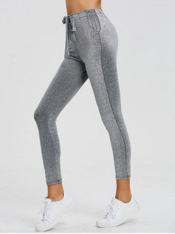 Cheap Skinny Drawstring Sparkly Pants