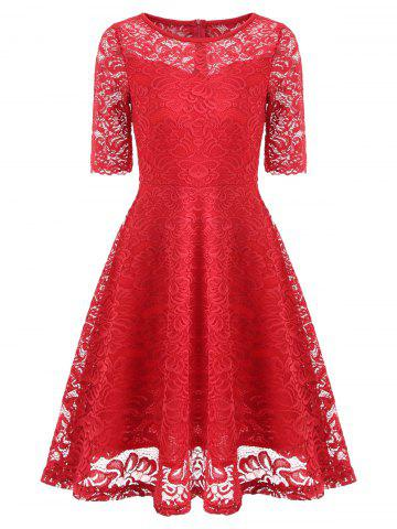 Cheap Vintage Lace Fit and Flare Dress