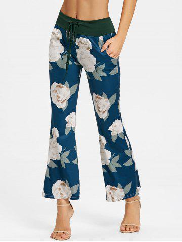 Discount Drawstring Flowers Pattern Pajama Pants