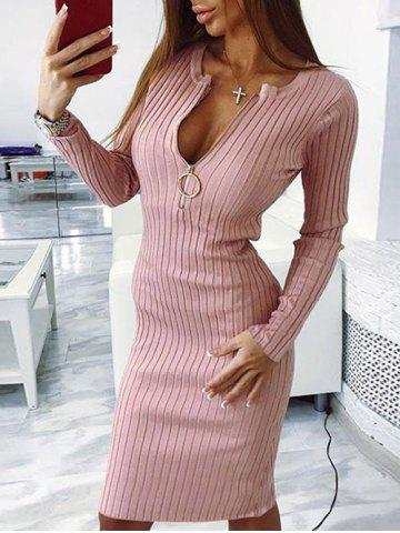 Hot Ribbed Zipper Embellished Bodycon Sweater Dress