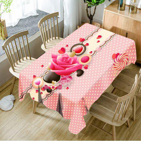 Buy Flower Candy Heart Polka Dot Print Waterproof Table Cloth