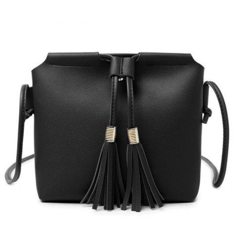 Shop Faux Leather String Tassels Crossbody Bag