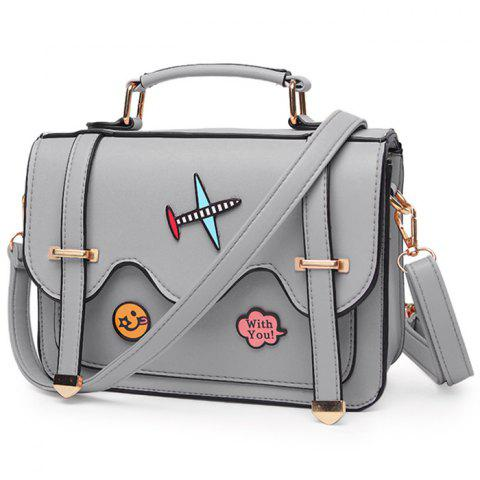 Fancy Rivets Double Sides Scallop Patchwork Crossbody Bag