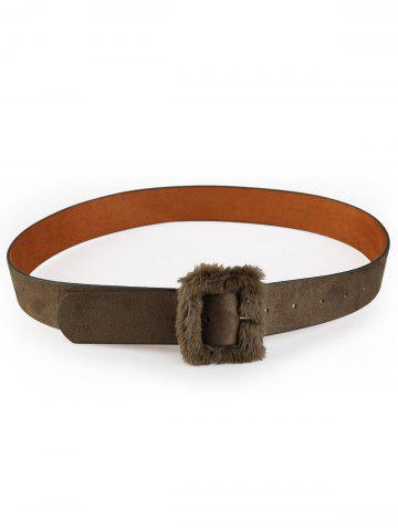 Cheap Vintage Furry Buckle Embellished Faux Leather Waist Belt