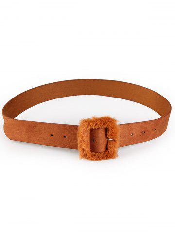 Store Vintage Furry Buckle Embellished Faux Leather Waist Belt