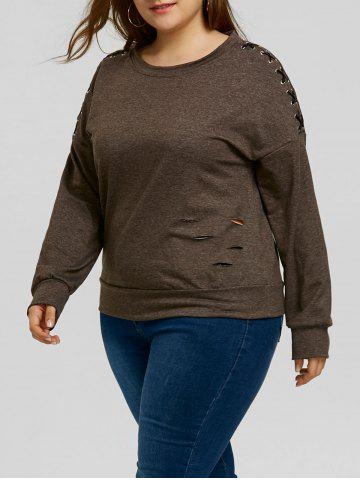 Chic Plus Size Distressed Sleeve Lace-up Sweatshirt