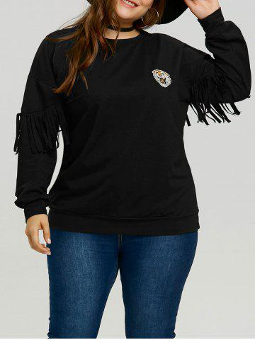 Fancy Plus Size Sleeve Fringe Tiger Patch Sweatshirt
