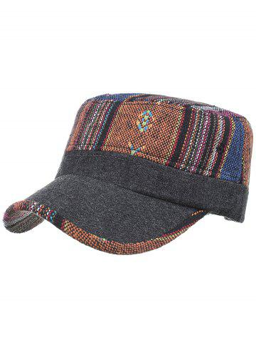 New Vintage Ethnic Style Pattern Flat Top Military Hat