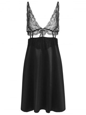 Trendy Lace Panel Plunge Front Slip Babydoll
