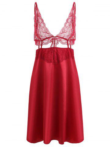 Store Lace Panel Plunge Front Slip Babydoll