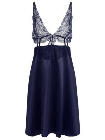 Hot Lace Panel Plunge Front Slip Babydoll
