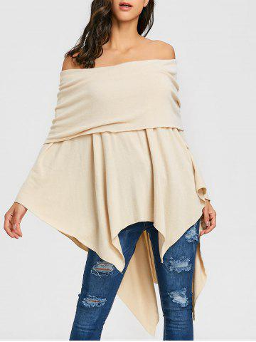 Outfit Asymmetric Off The Shoulder Poncho Knitwear