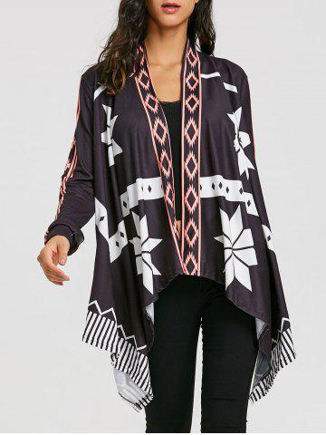Discount Printed Open Front Asymmetrical Cardigan