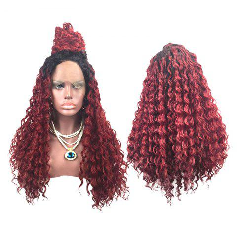 Chic Long Side Parting Fluffy Deep Wave Colormix Lace Front Synthetic Wig
