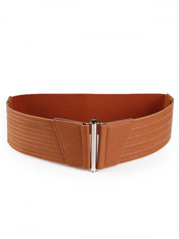 Hot Vintage Striped Pattern Decorated Faux Leather Wide Waist Belt