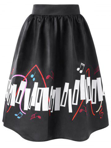 Online High Waisted Music Notes Plus Size Skirt