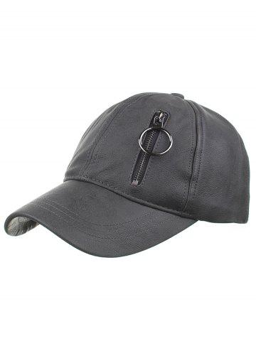 Discount Outdoor PU Leather Zipper Embellished Baseball Hat