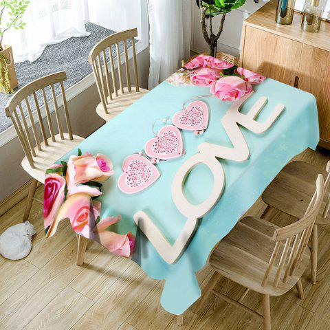 Store Valentine's Day Roses Hearts Love Pattern Waterproof Table Cloth