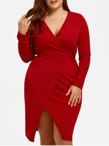 Outfit Plus Size Surplice Belted Slit Dress
