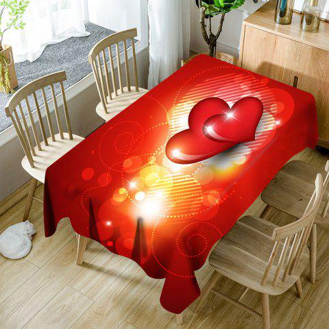 Cheap Valentine's Day Hearts Printed Waterproof Table Cloth