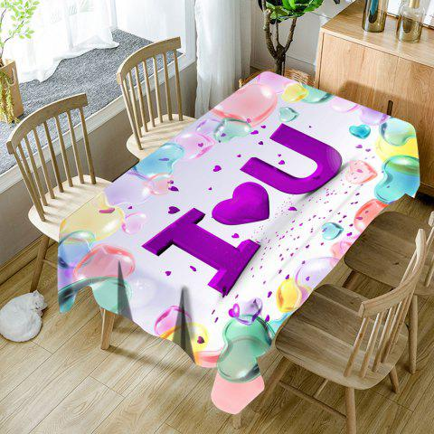 Cheap Valentine's Day I Heart U Print Waterproof Table Cloth