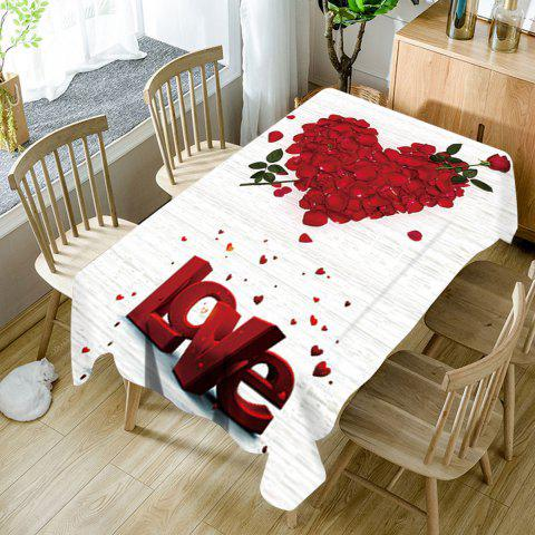 Chic Valentineu0027s Day Rose Petals Heart Love Pattern Waterproof Table Cloth
